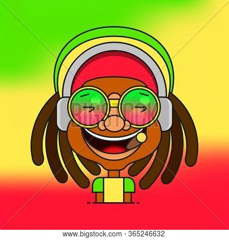 Man With Dreadlocks Hairstyle For Rastafarian And Reggae Theme Vector Illustration Suitable For Gree