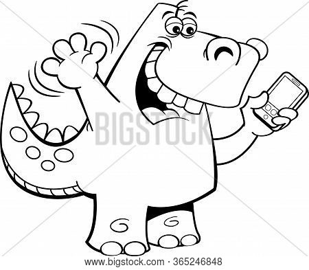 Black And White Illustration Of A Tyrannosaurus Rex Taking A Selfie On A Cell Phone.