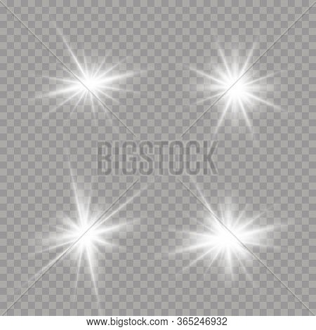 White Glowing Light Burst. Bright Star On A Transparent Background. Sparkling Magic Dust Particles.