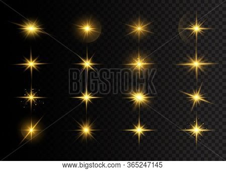 Yellow Glowing Lights And Stars. A Flash Of Sun With Rays And Spotlight. The Star Burst With Brillia