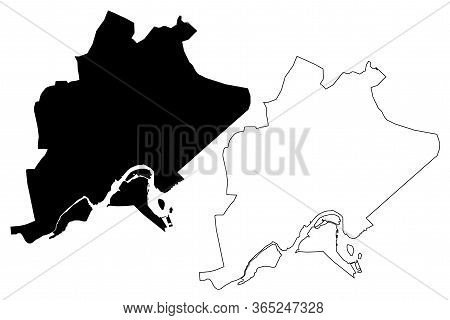 Bandar Seri Begawan City (nation Of Brunei, The Abode Of Peace, Borneo) Map Vector Illustration, Scr