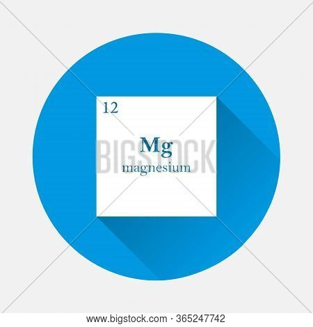 Magnesium Chemical Element Vector Icon On Blue Background. Flat Image With Long Shadow.