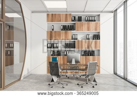Interior Of Futuristic Office With White And Brown Walls, Concrete Floor, Ceo Computer Desk And Wood