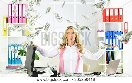 Wow. Businesswoman Working At Home. Investment Advisor Businesswoman Sitting At Office In Front Of C