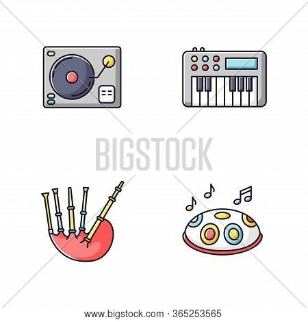 Musical Instruments Rgb Color Icons Set. Turntablism For Dj Party Performance. Synthesizer Keyboard.