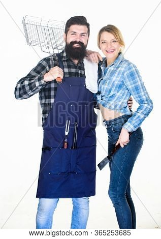 Cooking Together. Essential Barbecue Dishes. Family Getting Ready For Barbecue. Bearded Hipster And