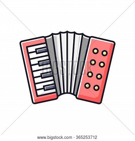 Accordion Rgb Color Icon. Classical Musical Instrument To Play Folk. Live Orchestra Performance. Key