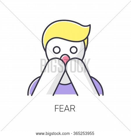 Fear Rgb Color Icon. Human Phobia. Panic Attack. Anxiety Disorder. Afraid Of Threat. Stress And Ment