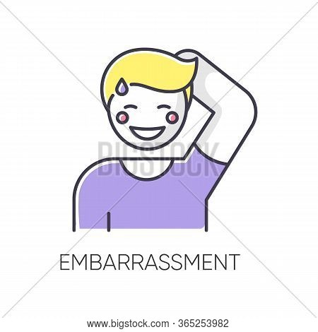 Embarrassment Rgb Color Icon. Man Acting Shy. Feeling Of Humiliation. Self Conscious Behaviour. Nerv