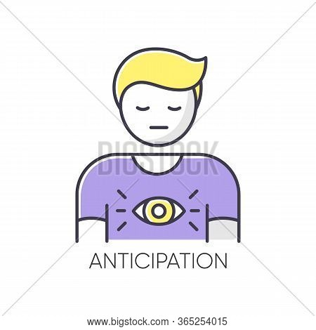 Anticipation Rgb Color Icon. Man Expecting Future. Person With Intuitive Prediction. Third Eye. Spir