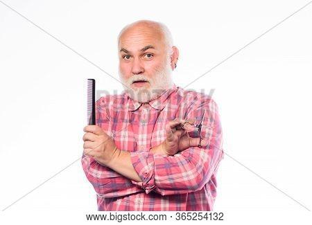 Barbershop Concept. Shaving Accessories. Unshaven Old Man Has Moustache And Beard. Shaving Scissors