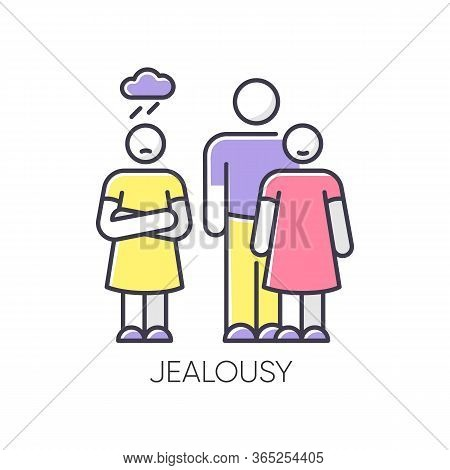Jealousy Rgb Color Icon. Betrayal In Romantic Relationship. Conflict Between Man And Woman. Rivalry