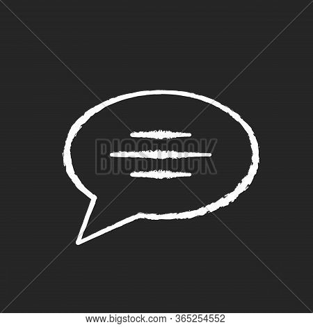 Chat Bubble Chalk White Icon On Black Background. Empty Speech Cloud. Blank Dialogue Balloon With Te