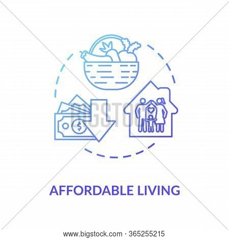 Affordable Living Blue Concept Icon. Residential Property Rent. Family Housing. Economy On Home Budg