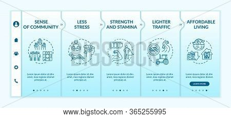 Country Life Benefit Onboarding Vector Template. Sense Of Community. Less Stress. Affordable Living.
