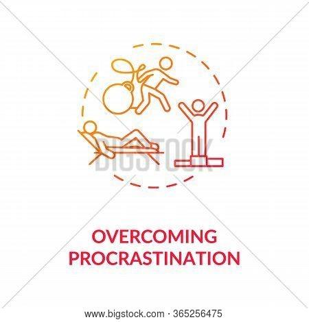 Overcoming Procrastination Concept Icon. Self Discipline, Motivation Idea Thin Line Illustration. Fi
