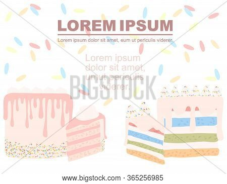 Advertising Flyer Design Piece Of Cake Cream-topped Multi-layer Cake Flat Vector Illustration On Whi