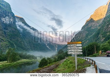 July 27, 2013, Gudvangen, Norway: The Source Of The Fjord In The Mountains Near The Highway And Road