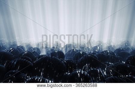 3d Render Of Sci Fi Abstract Background Featuring Army Of Futuristic Spheres On Blue Alien Planet, P