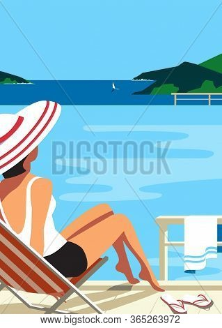 Girl Relax In Swimming Pool On Seaside Flat Vector. Sea Scenic View Hand Drawn Pop Art Retro Style.