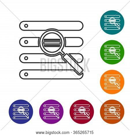 Black Line Search In A Browser Window Icon Isolated On White Background. Set Icons In Color Circle B