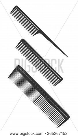 Combs Graphic Icons Set. Different Combs For Hair Black Signs Isolated On White Background. Barbersh
