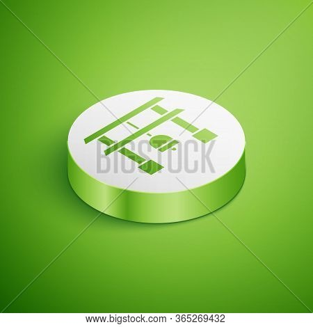 Isometric Japan Gate Icon Isolated On Green Background. Torii Gate Sign. Japanese Traditional Classi
