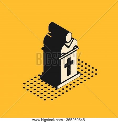 Isometric Church Pastor Preaching Icon Isolated On Yellow Background. Vector Illustration