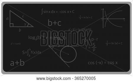 Black Board With Formulas, Algebra, Geometry, Vector Illustration