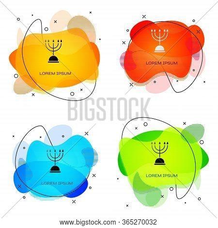 Black Hanukkah Menorah Icon Isolated On White Background. Hanukkah Traditional Symbol. Holiday Relig
