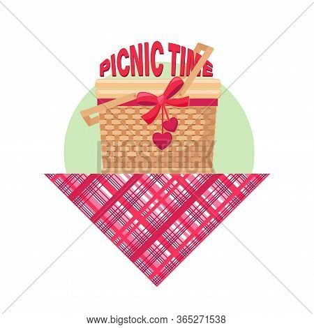 Picnic Time. Picnic At The Park. Basket Lunch. Bbq Time. Vector Illustration