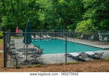 Cumming, Georgia/usa-5/04/20  Neighborhood Pool Is Clean And Ready To Be Opened For The Season But C
