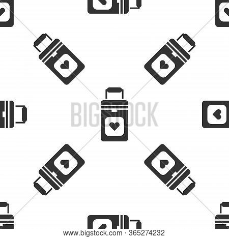 Grey Cooler Box For Human Organs Transportation Icon Isolated Seamless Pattern On White Background.
