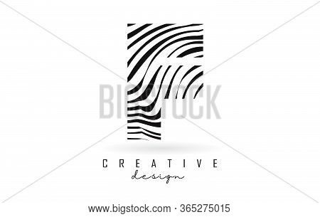 Black And White Zebra F Letter Logo Design. Creative F Vector Illustration With Lines.