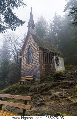 A Small Chapel In The Forest On A Mountainside. Austrian Alps, Tyrol, Surroundings Of The Mayrhofen