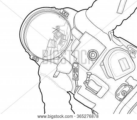 Vector Line Art Spaceman Design. Cosmonaut Black Contour Outline Sketch Illustration Isolated On Whi