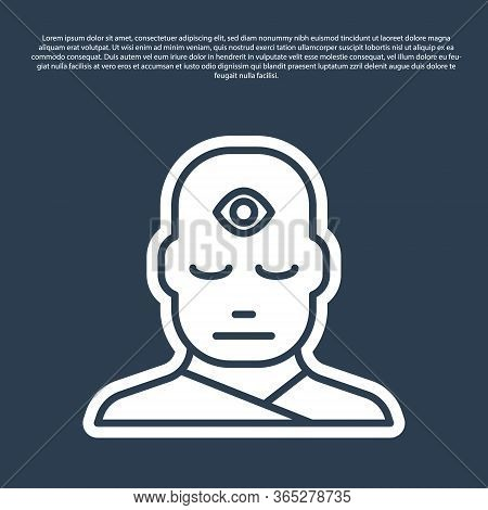 Blue Line Man With Third Eye Icon Isolated On Blue Background. The Concept Of Meditation, Vision Of
