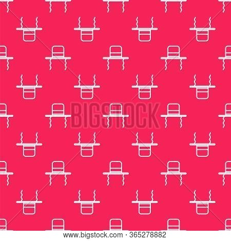 White Line Orthodox Jewish Hat With Sidelocks Icon Isolated Seamless Pattern On Red Background. Jewi