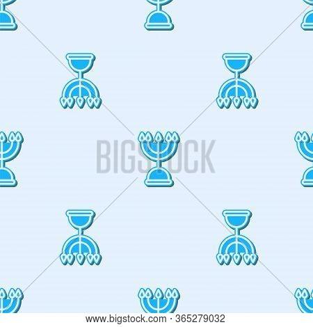 Blue Line Hanukkah Menorah Icon Isolated Seamless Pattern On Grey Background. Hanukkah Traditional S