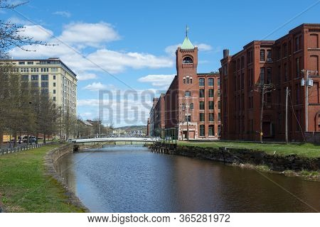Historic Pacific Mills By The Merrimack River Canal In Downtown Lawrence, Massachusetts Ma, Usa.