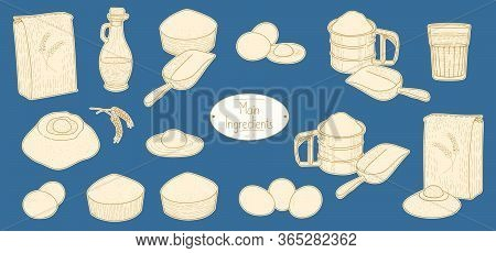 Main Ingredients For Italian Food Pasta Recipe, Sketching Illustration In Retro Style