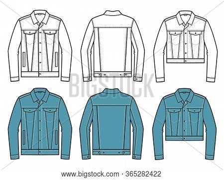 Denim Jacket. Vector Set Of Fashion Denim Jackets Clothes Isolated On White For Design.