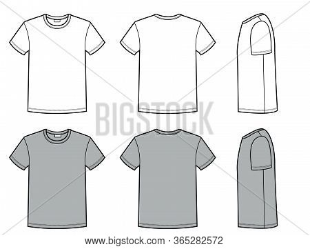 Men's T Shirt For Template. Vector Fashion Casual Clothes For Men Flat Style Illustration Isolated O