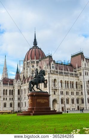 Budapest, Hungary - Nov 6, 2019: Building Of The Hungarian Parliament Orszaghaz. The Seat Of The Nat