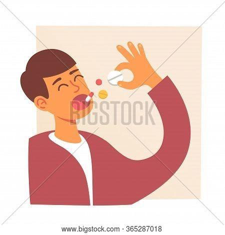 Man Takes Medicine. Pills In Mouth. Man Eating Pills. Disease Treatment. Drug And Vitamins. Vector I