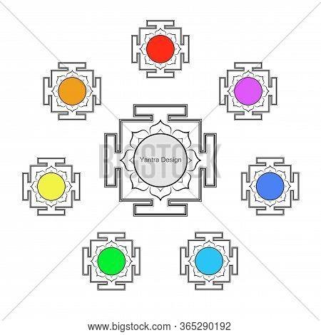 Yantras Set Icon, Copy Space. Sacred Indian Geometry Mystical Meditative Diagram. Set Of Sri Yantras