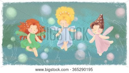 Garden Fairies Greeting Card On Green Backdrop. Three Little Princesses Magic Banner, Poster. Childr