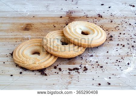 Bagel Shortbread Cookies On A Wooden Table. Shortbread Cookies Bagel. Tasty Danish Butter Cookies. B
