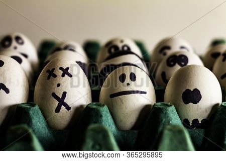 White Eggs With Human Faces. Free Space To Write. Eggs With Faces