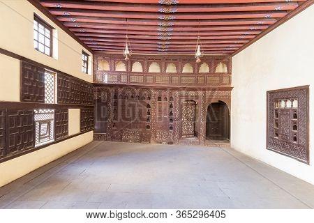 Rosetta, Egypt- February 1 2020: Oriental Wooden Engraved Arabesque Decorations With Balcony, Lattic